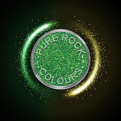 EcoSparks™ Allure - Earth friendly glitter in sparkling green with gold flecks.